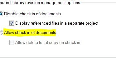 allow check-in of documents