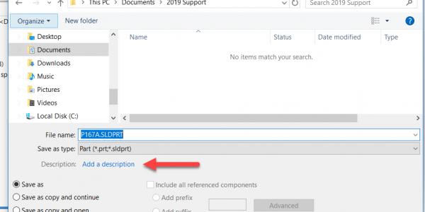 Description Filed on save as dialog box