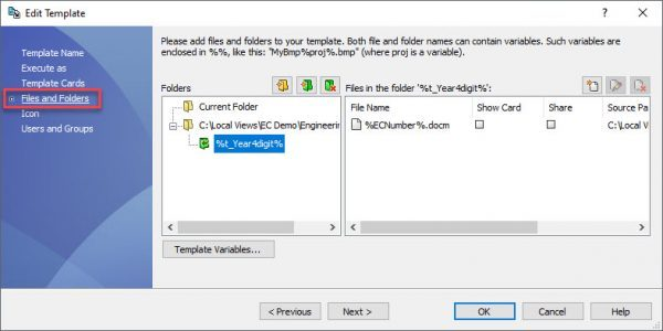 Edit Template File dialog