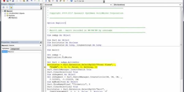 SOLIDWORKS 2020 API